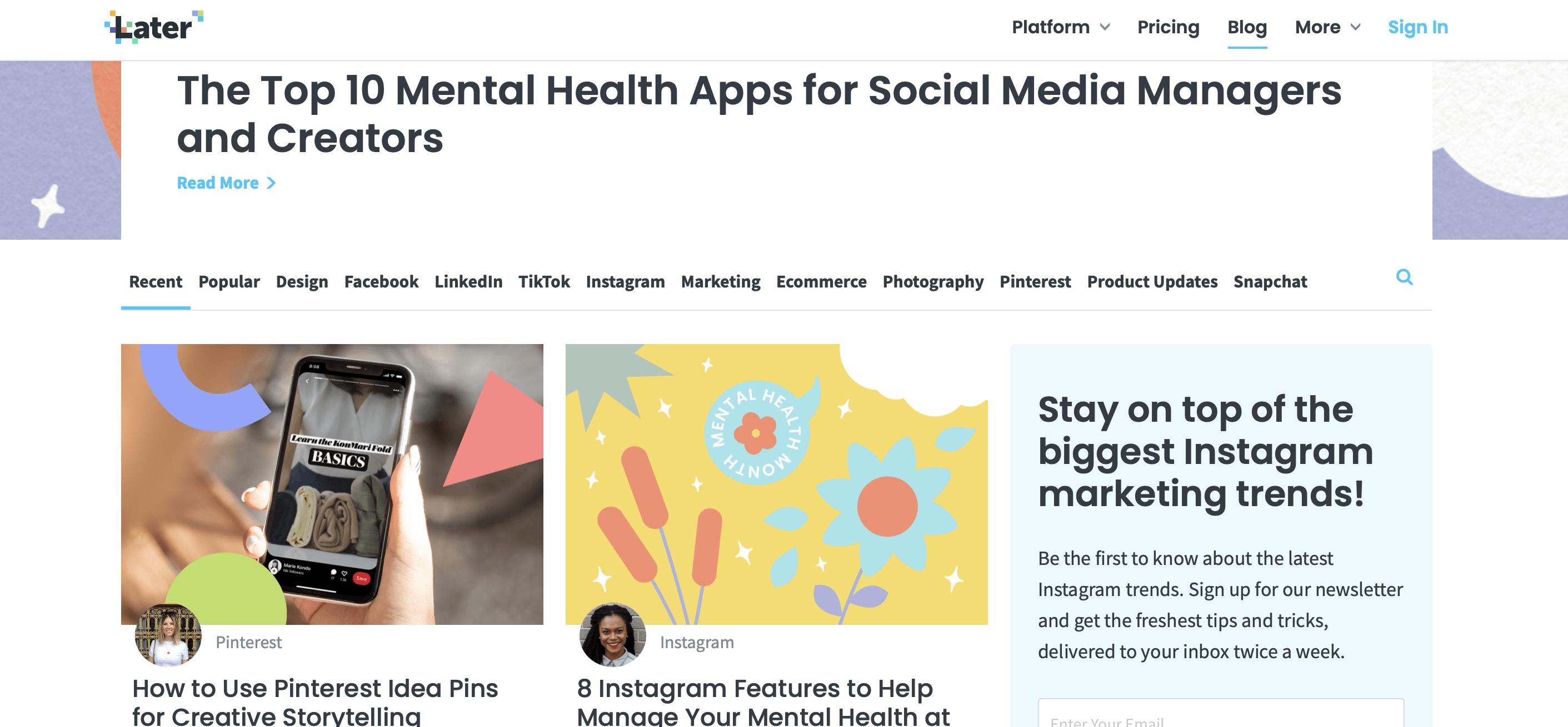 later blog spécialisé stratégie Instagram